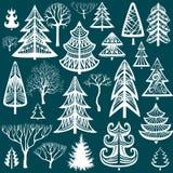 Coleção de árvores do inverno Fotografia de Stock