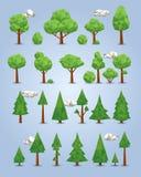 Coleção de árvores poligonais Fotos de Stock Royalty Free
