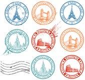 Coleção de selos da cidade Imagem de Stock