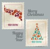 Coleção de selos do vintage do Natal do vetor Fotos de Stock Royalty Free