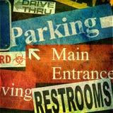 Coleção de sinais de rua públicos Fotos de Stock Royalty Free