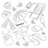 Coleção de símbolos do verão Imagens de Stock