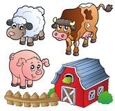 Coleção de vários animais de exploração agrícola Fotos de Stock