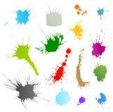 Coleção de vários símbolos do splatter da tinta Fotos de Stock