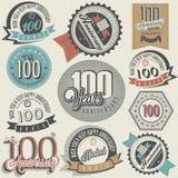 Coleção do aniversário do estilo cem do vintage. Imagens de Stock