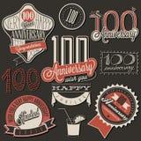 Coleção do aniversário do estilo cem do vintage Imagem de Stock