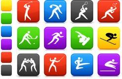 Coleção do competidor e olímpica do ícone dos esportes Fotografia de Stock Royalty Free