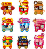 Coleção do ícone do carro da loja do mercado dos desenhos animados Imagem de Stock Royalty Free