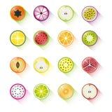 Coleção do ícone do fruto Fotos de Stock Royalty Free