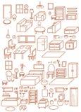 Coleção do ícone interior ajustável infographic, cadeira do projeto da mobília, tabela, daybed, sofá, tamborete, janela, lâmpada, Foto de Stock