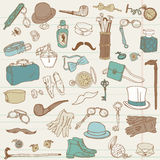 Coleção do doodle dos acessórios dos cavalheiros Fotos de Stock