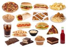 Coleção do fast food e dos petiscos Foto de Stock