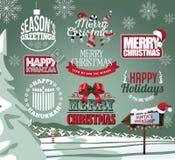 Coleção do feriado das etiquetas, dos emblemas e do tipo tratamentos Fotos de Stock