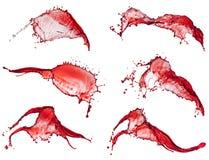 Coleção do respingo da água vermelha Fotografia de Stock