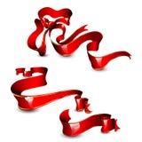 A coleção do vermelho tirado com ouro listra fitas Fotografia de Stock