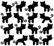 Coleção do vetor de Cat Silhouettes bonito Imagens de Stock