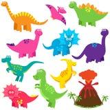 Coleção do vetor de dinossauros bonitos dos desenhos animados Foto de Stock