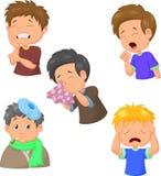 Coleção doente dos desenhos animados do menino Imagem de Stock Royalty Free