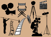 Coleção dos artigos do cinema Fotografia de Stock