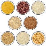 Coleção dos cereais e das leguminosa Foto de Stock Royalty Free