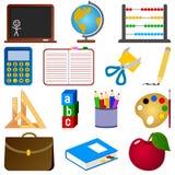 Coleção dos ícones da escola Imagens de Stock