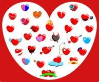 Coleção dos corações com sentimentos diferentes Fotos de Stock Royalty Free