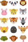 Coleção 1 dos desenhos animados da cabeça do animal selvagem Fotografia de Stock