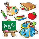 Coleção dos desenhos animados da escola Fotos de Stock Royalty Free