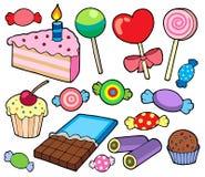 Coleção dos doces e dos bolos Foto de Stock Royalty Free