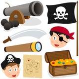 Coleção dos elementos do pirata Fotografia de Stock Royalty Free
