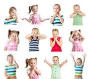 Coleção dos miúdos com emoções diferentes isolados no CCB branco Fotografia de Stock Royalty Free