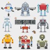 Coleção dos robôs dos desenhos animados Fotos de Stock Royalty Free