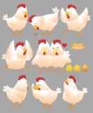 Coleção engraçada 1 dos desenhos animados da galinha Fotografia de Stock Royalty Free
