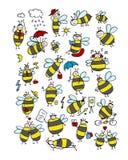 Coleção engraçada da abelha, esboço para seu projeto Fotografia de Stock Royalty Free