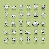 Coleção engraçada das pandas, esboço para seu projeto Imagens de Stock Royalty Free
