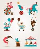 Coleção enorme do circo do vintage com carnaval, divertimento Imagem de Stock