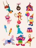 Coleção feliz dos ícones da mostra do circo dos desenhos animados Fotografia de Stock