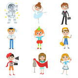 Coleção futura da profissão das crianças Fotografia de Stock Royalty Free