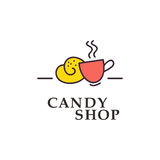 Coleção lisa do logotipo do vetor para a loja dos doces e a loja doce Imagem de Stock Royalty Free