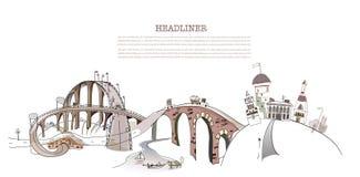 Coleção ocupada da cidade da ilustração das estradas, transporte Foto de Stock