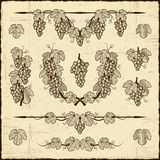 Coleção retro das uvas Fotografia de Stock Royalty Free