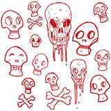 coleção retro dos crânios dos desenhos animados Foto de Stock Royalty Free