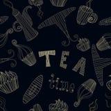 Coleção sem emenda dos elementos do tempo do chá do teste padrão do vetor do vintage com bolo, copo, bule Foto de Stock