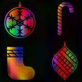 Coleção tradicional ajustada dos símbolos do fulgor do ano novo do Natal, Foto de Stock