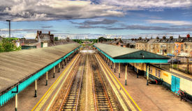 Coleraine järnvägsstation - ståndsmässiga Londonderry Royaltyfria Bilder