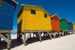 Colerd Beach Huts. Colored Beach Huts near cape town - low angle Stock Photos