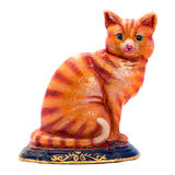 Colered antique figurine  of a cat. Stock Images