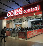 Coles supermarket Australia. People shop at Coles supermarket in Melbourne stock images
