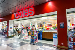 Coles supermarket in Box Hill, Melbourne. Coles is a subsidiary of Australian retail giant Wesfarmers. Coles operates more than 700 supermarkets throughout royalty free stock images