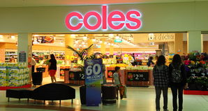 Coles supermarket entrance. Coles - an Australian supermarket chain - with its entrance from inside a shopping mall in Surfers Paradise, Queensland stock photo